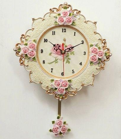 A010   small size rose quartz wall clock swing mute flower design moeden new 2014 clocks