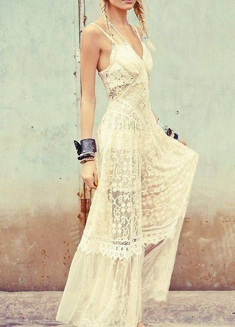 Long white lace and crochet partially see-through maxi dress. Looks like it's from Free People? #boho #chic #dress