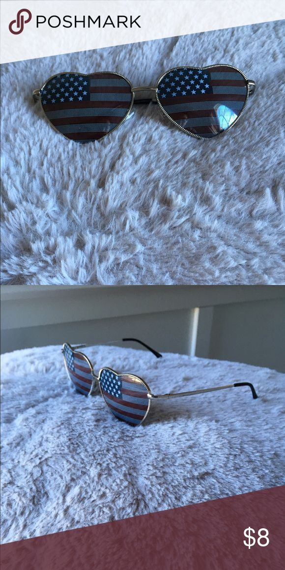 American Flag Heart Shaped Sunglasses These sunglasses have the shape of a heart along with the American flag over the shade. Steve Madden Accessories Glasses