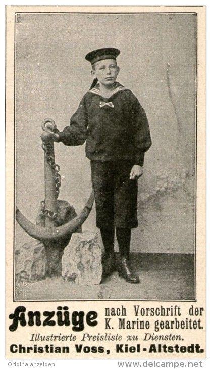 Original-Werbung / Anzeige 1908 - MARINE - ANZÜGE / VOSS KIEL - ALTSTEDT - ca. 45 x 80 mm