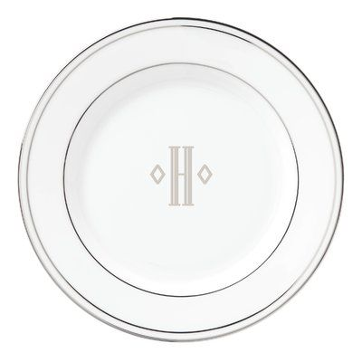 O Lenox Federal Platinum Block Monogram Dinnerware Salad Plate