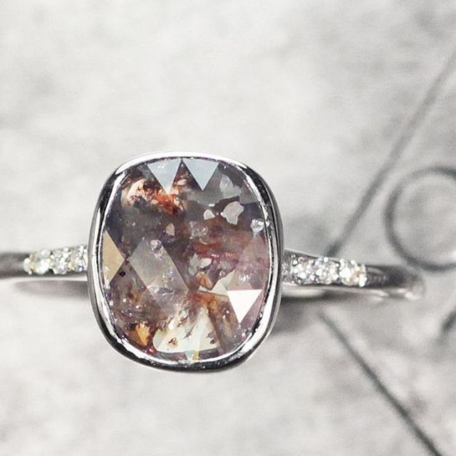 1 carat cocoa, cognac and white diamond ring in white gold. http://chincharmaloney.com