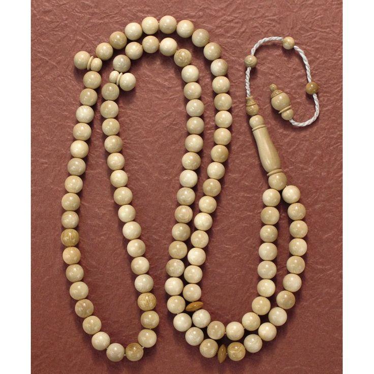Genuine Mammoth Ivory Islam 99 Prayer Beads Rosary (7mm) Brown MTR726-7mm