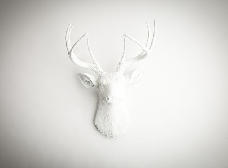 The Templeton - White Resin Deer Head- White Deer Antlers Mounted- Faux Head Wall Mount. $119.99, via Etsy.