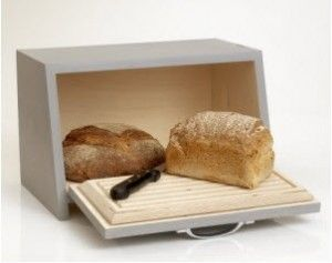 Wooden bread bin to display in and on top to give height