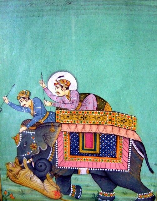 Indian Miniature, turquoise background