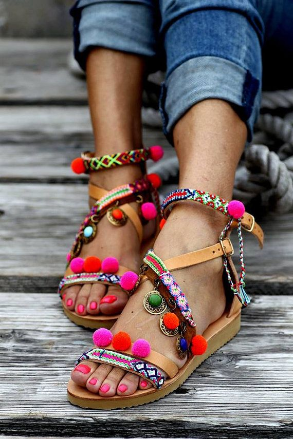 Pom Poms, Sandals, Summer, Sun, Beach, Bright Colours, Pink,