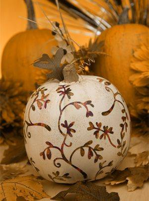 Decoupaged Pumpkin from Michaels, complete instructions how to make it.  Love this !: Thanksgiving Crafts, Fall Decor, Holidays Pumpkin, Halloween Pumpkin, Pumpkin Decor, Holidays Decor, Paintings Pumpkin, Decoupage Pumpkin, Pretty Pumpkin