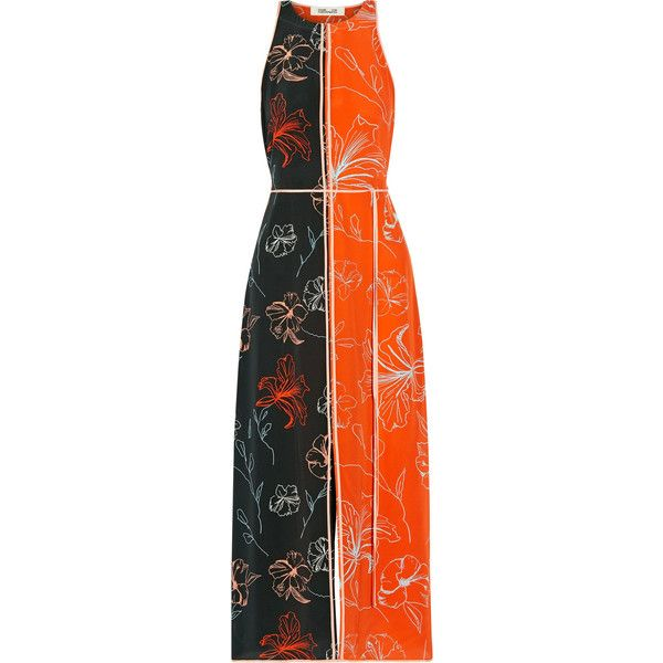 Diane von Furstenberg Open-back printed silk crepe de chine midi dress (£185) ❤ liked on Polyvore featuring dresses, orange, floral wrap dress, floral print dress, midi dress, flower print dress and wrap dress
