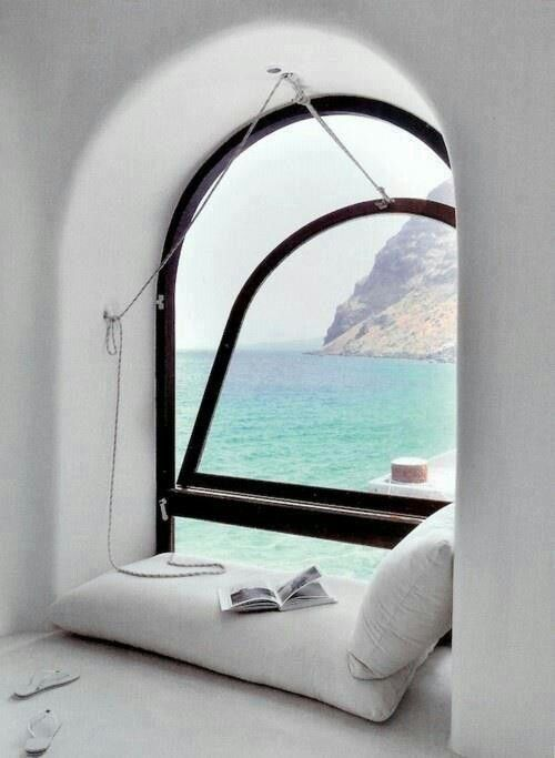 Make time for reading | Reading nook with an ocean breeze. Perfect. #readingnook #wishfulthinking