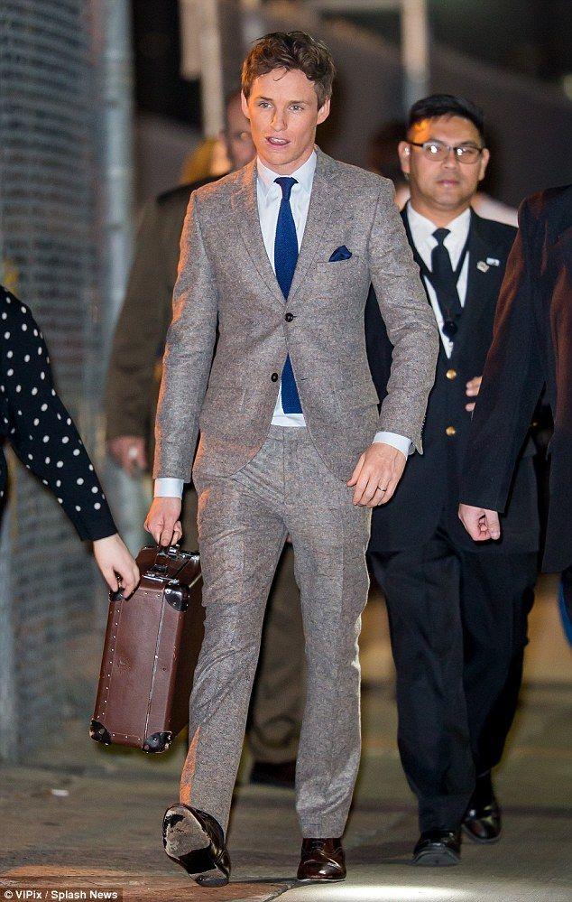 Sharp: Eddie Redmayne looks dapper in a grey tweed suit outside Jimmy Kimmel's studios