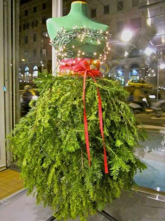 Eureka!!  I've found the dress to wear to K & C wedding!! Fun Christmas tree idea --- girls pad tree. Perfection
