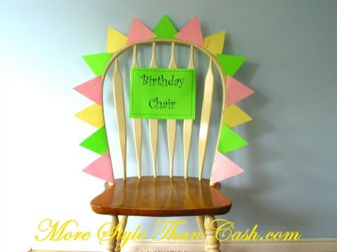 Make kids (or adults!) feel special on their special day with a decorated birthday chair. http://www.ivillage.com/make-your-kids-birthday-special/6-a-517735#