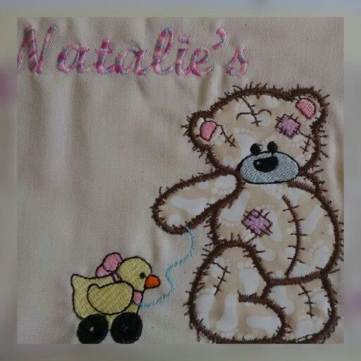 Baby appliqué teddy bear with embroidered baby duck and embroidered name.. have this for any baby occasion...