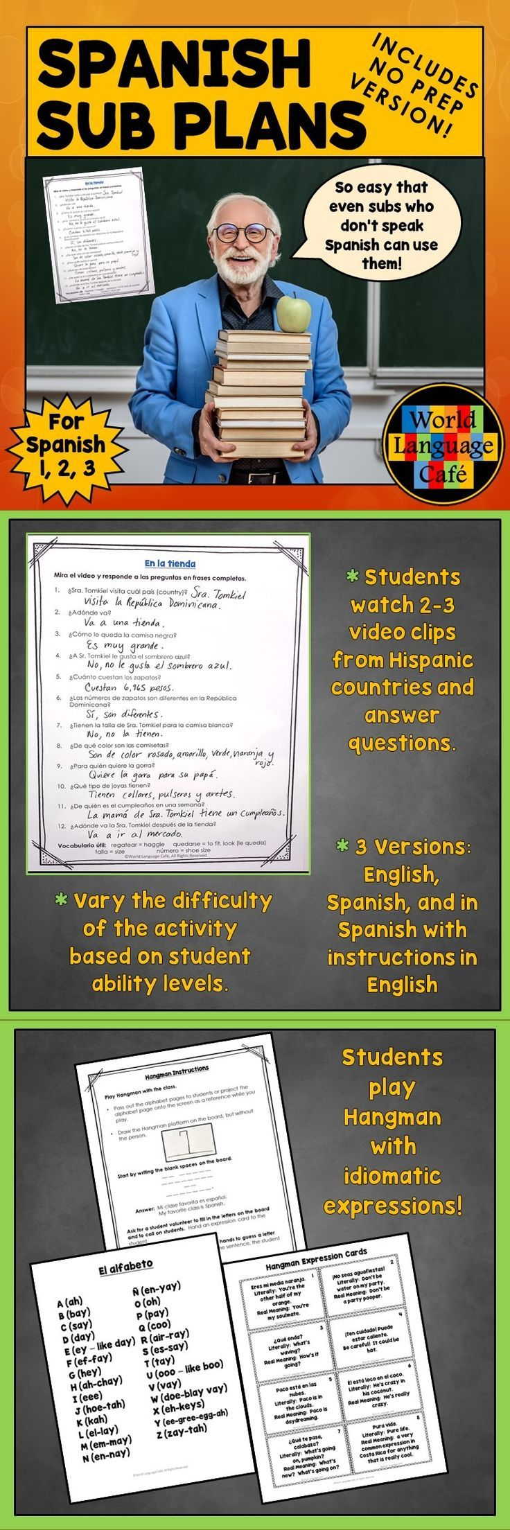 Who wants emergency Spanish sub plans that you can email to your Department Head when you're feeling lousy? Includes 3 versions: emergency, no prep; regular; for Google classroom. Spanish students watch 2-3 short cultural video clips, answer questions, play Hangman while learning Spanish idioms, and learn the Hispanic countries with a word search. Perfect for Spanish subs who don't speak English.