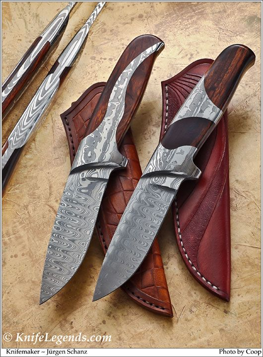 Blade Steel: DamaSteel Stainless Damascus; Bolster/Guard: DamaSteel Stainless Damascus; Handle Material: Presentation Grade Desert Ironwood
