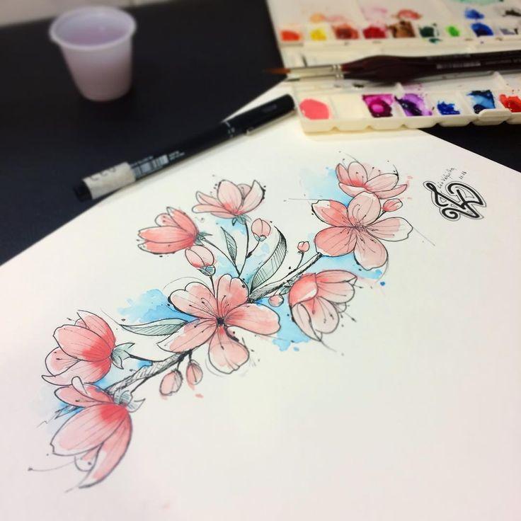 Braceletinho de Sakuras aguardando aprovação da cliente pra ir pra pele 🌸🍂 #leovalquilha #tattoo #tatuaje #tatuagem #tattoage #tatuaggio #tattoo2me #tatuadoresbrasileiros #tattooart #tattoobrasil #ink #inked #tatuadoresdobrasil #tattoo_clube #aquarela #watercolor #watercolortattoo #sakura #cerejeira #painting #fozdoiguaçu #Paraná #drawing #art #arte #desenho