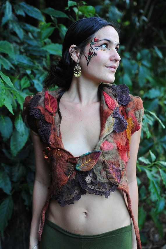 Felt Fairy Pixie Melted Leaf  And Vines Silk Mohair by frixiegirl, $168.00