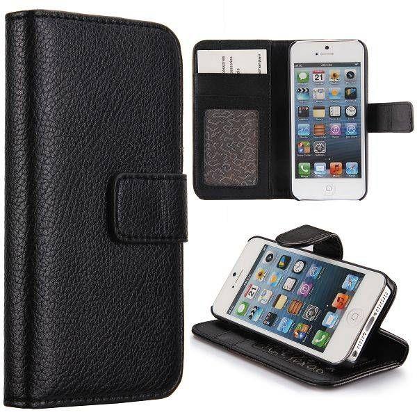 Zwart lichee bookcase hoesje voor iPhone 5 / 5s