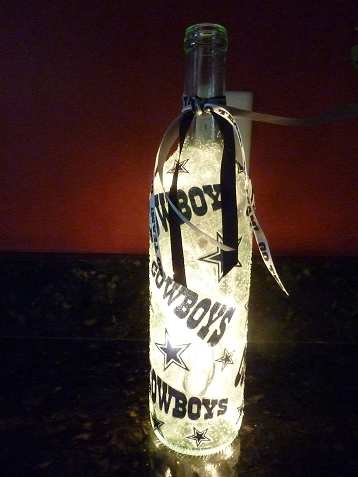 Handmade Lighted Wine Bottle w/ Dallas COWBOYS. $20.00, via Etsy.