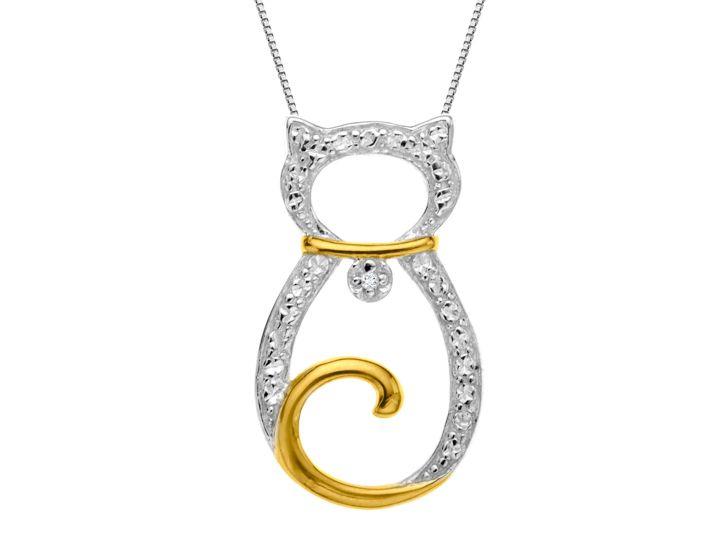 A charming pendant that uses its feline powers to warm your heart and brighten your day! A stylized figure features a diamond accent embellished collar in a setting of sterling silver, while the cat's collar and tail is 18K gold over sterling silver. Piece measures 5/8 by 1/2 inches.
