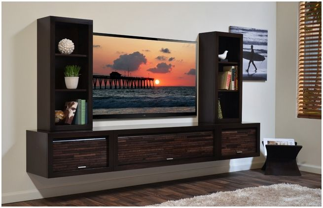 Dark Brown Laminated Wooden Wall Mounted Tv Cabinet Plus