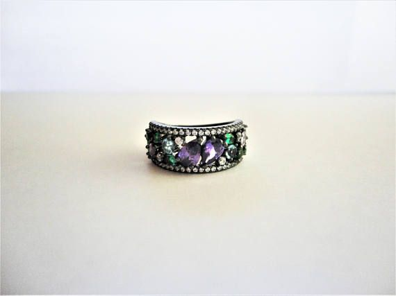 Multicolored 925 Dark Silver Ring with simulated Amethyst