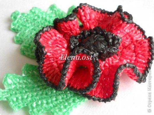 Crochet papavero con i sacchetti di plastica (fototutorial)