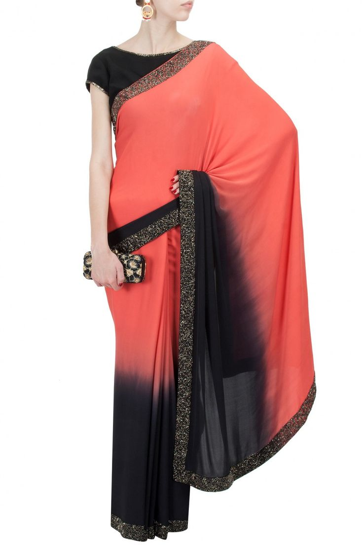 Red and black ombre sari with embroidered blouse BY NZUR