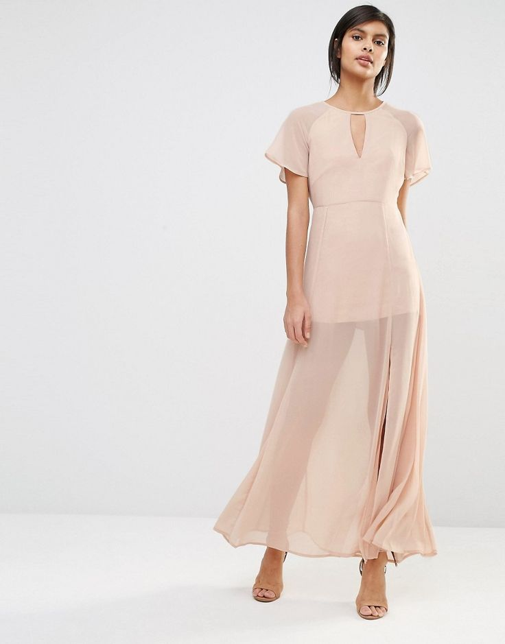 Image 1 of Vero Moda Flutter Sleeve Maxi Dress