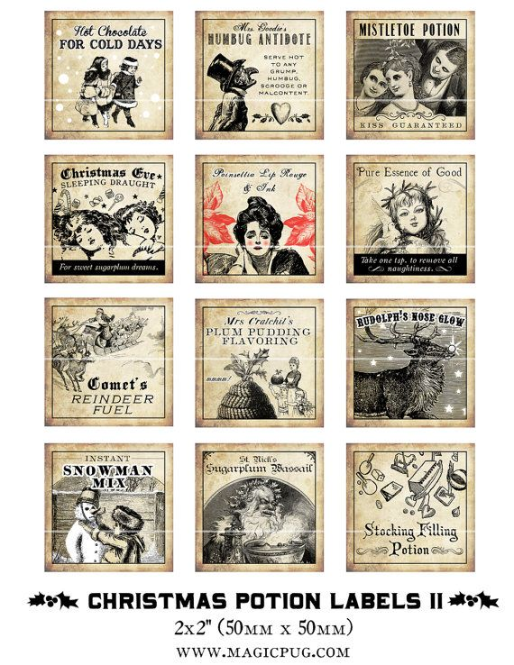Antique Christmas Potion Labels II