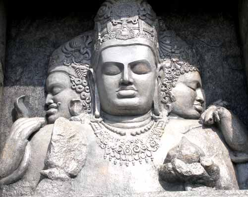 Shiva Elephanta: eternal Shiva sculpture; human form with five heads  -creator  -protector  -destroyer  -obscurer  -releasor (implied)