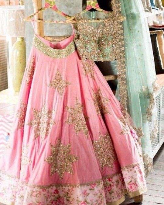 Anushree reddy pink and green star lehenga choli