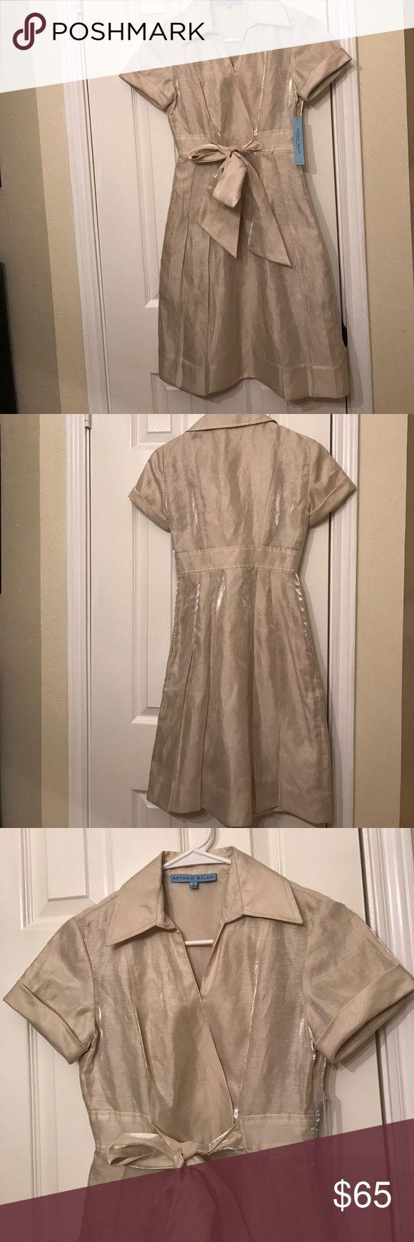 ❤NWT Antonio Melani❤ gorgeous Antonio Melani shirt dress. beautiful gold linen collared shirt dress. New with tags! 80% linen 20% nylon ANTONIO MELANI Dresses