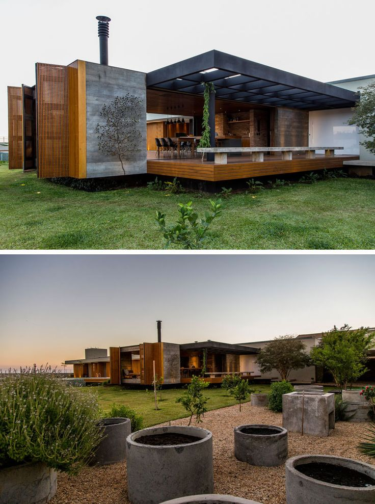 mf+arquitetos have designed this house in Franca, Brazil, that features a palette of wood, concrete, stone and weathering steel.