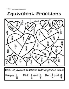 Valentine's Day Equivalent Fractions Activity.