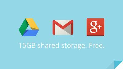 15 جيجابايت توفرها جوجل لك مقابل خدماتها الجيميل وجوجل درايف و صور جوجل+