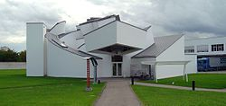 Front View:  The Vitra Design Museum is an internationally renowned, privately owned museum for design in Weil am Rhein, Germany, designed by Frank Gehry.