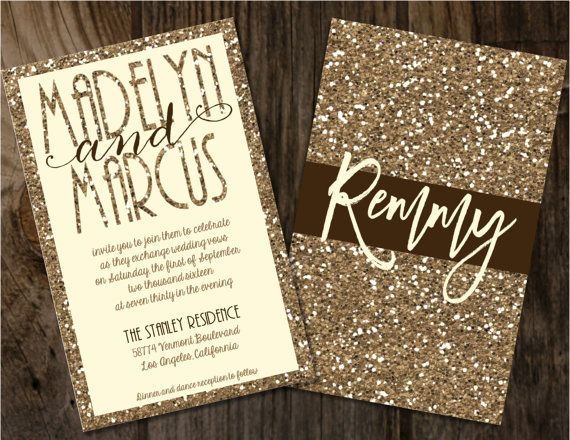 Champagne Glitter Wedding Invitations, Gold Wedding Invitations, Gold  Glitter Wedding Invitations, Champagne Wedding Invitations