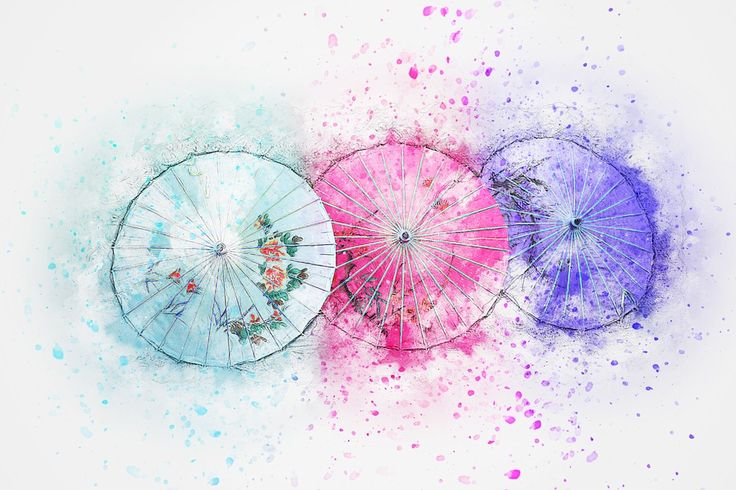 Paraplu, Kunst, Abstract, Aquarel, Vintage, Natuur
