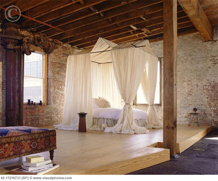 Image Detail for - Bedroom in Converted Building with Exposed Brick Walls [42-17216733 ...