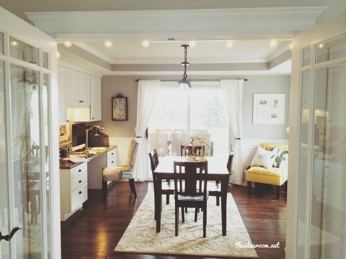 Office craft room tour french doors offices and craft rooms for Dining room office combo