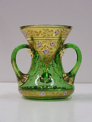 Bohemian Moser Type Hand Painted Enameled Green Art Glass 3 Handle Loving Cup | eBay