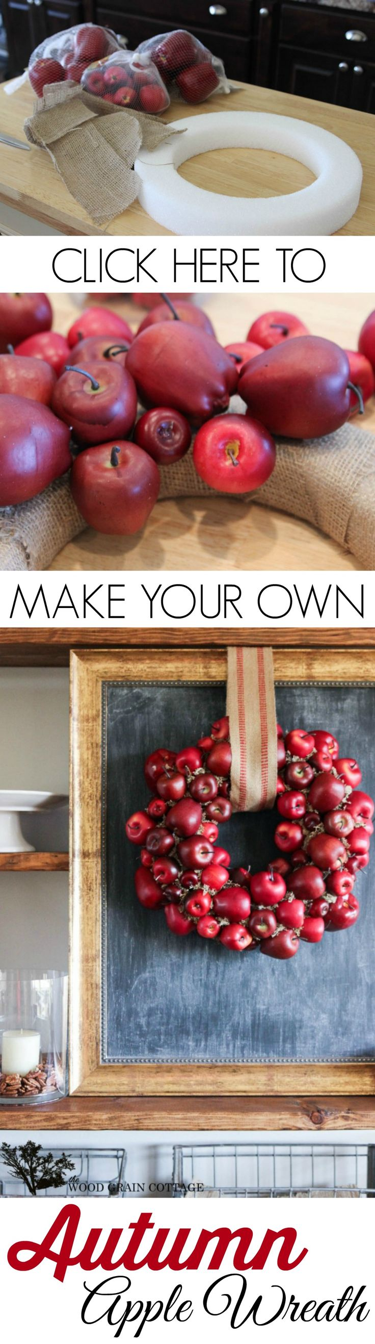 Autumn Apple Decor - DIY Fall Wreath Craft Home Decorating Tutorial from The Wood Grain Cottage