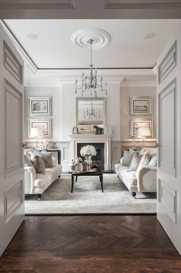 gray formal traditional classic living room 3 ideas English roll arm sofas - herringbone wood floor - extensive woodwork
