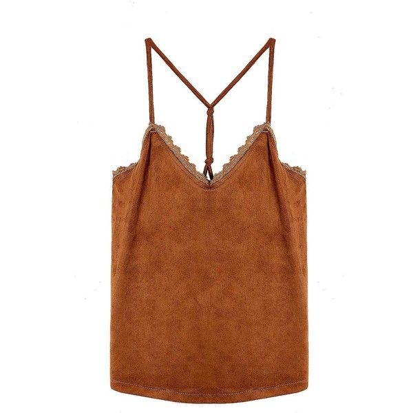 Yoins Tan Suedette Petal Trim Cami Top (£11) ❤ liked on Polyvore featuring tops, brown camisole, denim tank top, camisole tops, brown tank top and cami top