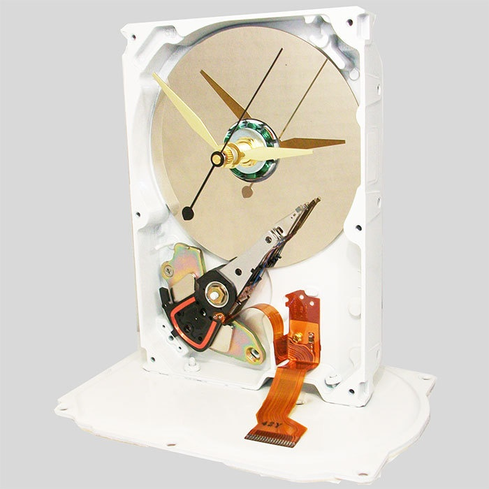 Ready for the Season! Gloss White Painted Computer Hard Drive Clock. White Chocolate Edition. (H). $42.00, via Etsy.
