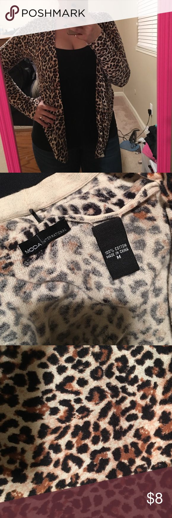 Cheetah print cardigan Ordered from the Victoria secret website. Worn multiple times. Really cute! Moda International Sweaters Cardigans