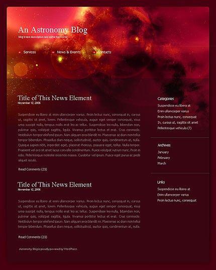 Astronomy Blog WordPress Themes by Raymond