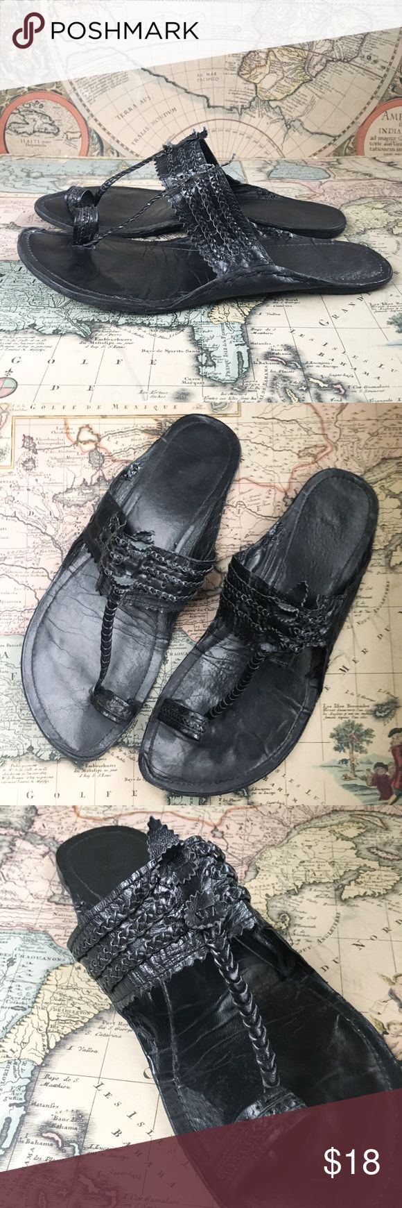 """Braided all-leather gladiator sandals Beautiful quality leather gladiator sandals. Toe loop and t-strap. Lovely braiding detailing, and side arches for shapely silhouette. All leather uppers AND soles. Insole is 10 1/8"""" long and 3 3/4"""" wide. Great pre-owned condition. Shoes Sandals"""